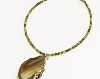 Green garnet, agate and sterling silver pendant necklace