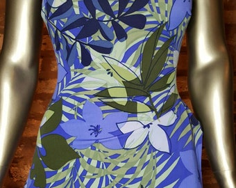 50's style Classics by Jantzen Blue Tropical Floral Swimdress US 12
