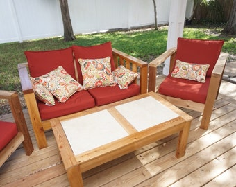 Custom, Cedar Wood Patio Furniture (entire Set)