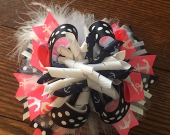 Anchor Over The Top Hair Bow