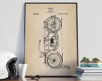 Motorcycle Patent Print, Motorcycle Ziska Poster, Motorcycle Decor, Gift for Biker, Patent Poster - DA0322