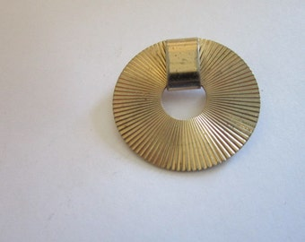 60's RETRO Napier Designer Sterling Silver Gold Wash Circle Brooch