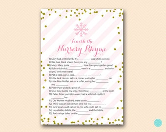 Finish the nursery rhyme game, Nursery rhyme quiz, Winter Baby Shower Game, Pink and Gold Baby Game Printable, TLC464