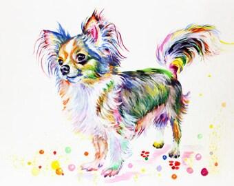 Chihuahua Art Print Dog Poster Watercolor Painting Dog Painting Chihuahua Illustration Animal Art Chihuahua wall decor FREE SHIPPING