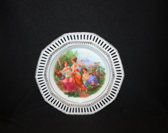 Carl Schumann Reticulated Plate Roman Women in Garden Courtyard C 1880s C S Bavaria