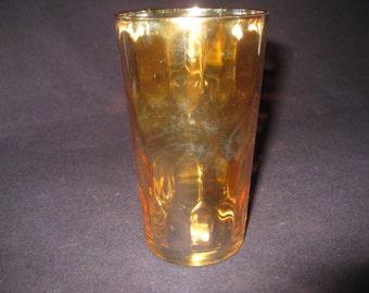 12 Peach/Amber Marigold Carnival glasses, 10 oz  each