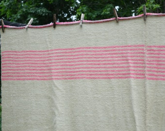 Woven Wool Blanket - Vintage Wool Throw Blanket - French Canadian Blanket - BEIGE  with PINK Stripes - 71 in. X 81 in.