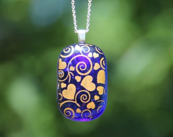 Blue and gold fused glass heart swirl pendant. fused glass pendant, fused glass necklace, heart necklace, heart pendant, blue fused glass