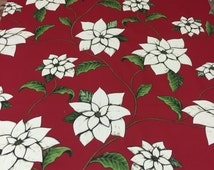 Christmas tablecloth, red tablecloth with white Christmas star flower