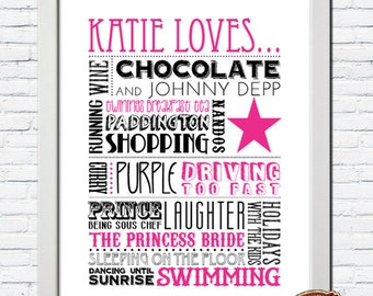 Personalised 'Favourite Things' Typography Word Art Print GIFT, Special Occasion, Birthday Gift