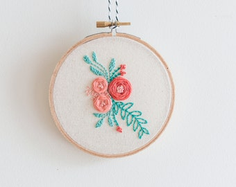 "Dainty Floral ~ 5"" READY TO SHIP ~ Handmade Embroidery Hoop Art"