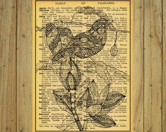 Vintage paper dictionary bird and flowers instant download wall decor illustration home decor