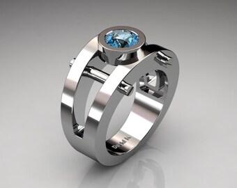 Mens Modern 14K White Gold 1.0 Ct Blue Topaz Ring R1049-14KWGBT