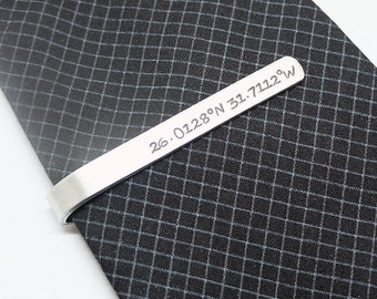 Coordinates Tie Clips- Hand stamped Tie Clips, Personalized Aluminum Tie Bars, Groomsmen Gift, Gift for Man, Wedding gift, Anniversary Gift.