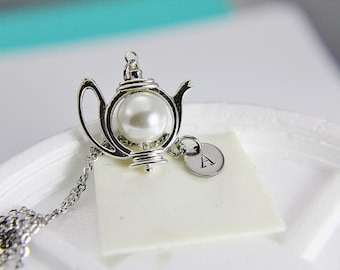 White Pearl Teapot Necklace Silver Teapot Necklace with Personalized Initial Necklace Monogram Custom Jewelry Bridesmaid Gift