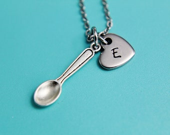 Silver Spoon Charm Necklace Silver Spoon Necklace Silver Miniature Spoon Charm Heart Charm Necklace Gifts for Her under 30