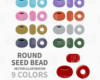 Round Seed Beads Clip Art - Beads Vector Graphic - Vector Illustration of Beads - ai, eps, pdf, png