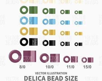 Delica Bead Sizes - Beads Vector Graphic - Miyuki Delica Beads Clip-art Set