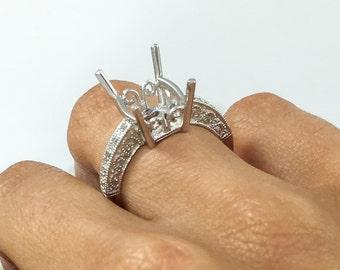 Unique Semi Mount Engagement Ring Wedding Band, 10x8MM Emerald Radiant Semi Mounting 14K White Gold 0.10CT Diamond Ring Setting