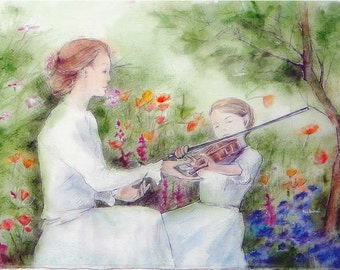"""Painting, Water coloured drawing - """"Child's dream, the violin lesson in the garden in blossom"""" paper watercoloured drawing 600gr  72c60cm"""