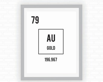 Printable art - gold print - periodic table - typography - black and white print - art print - Digital wall decor - INSTANT DOWNLOAD