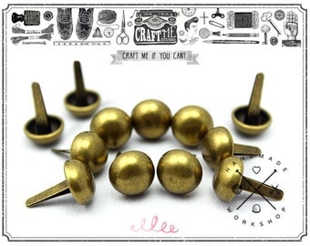 50PCS 10MM Antique Brass Round dome purse feet studs NAILHEADS.