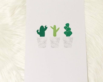 The trio of cacti foil print