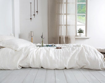 Seamless linen Duvet Cover with Wood Button Closure Washed : washed linen quilt cover - Adamdwight.com