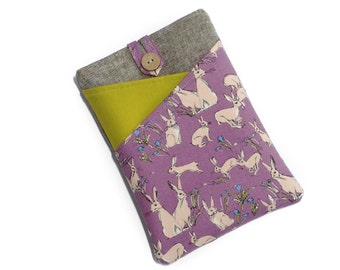 Kindle Paperwhite Cover, Kindle Fire Case, Kobo Cover, Kindle Case, Kobo Glo HD Cover, Kindle Oasis Case, Nook Sleeve, Rabbits, Lilac