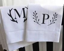 CLEARANCE Monogrammed guest towel hand towel Personalized hostess gifts tea towel Monogrammed linen towel deer antler monogram rustic home