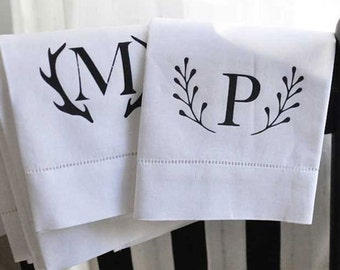 CLEARANCE Personalized linen hand towel-Monogrammed Hostess Gift
