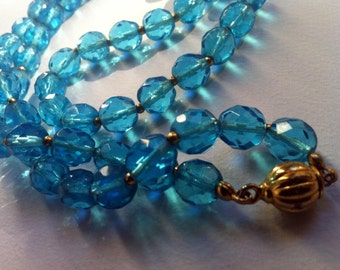 Vintage necklace, faceted crystal beads, aquamarine faceted Crystal beads, vintage necklace-aquamarine,