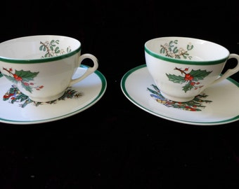 "Marked "" Pummer Ltd""  Holly Berry Christmas Cups And Tree Saucers c.1940s Set of 2"