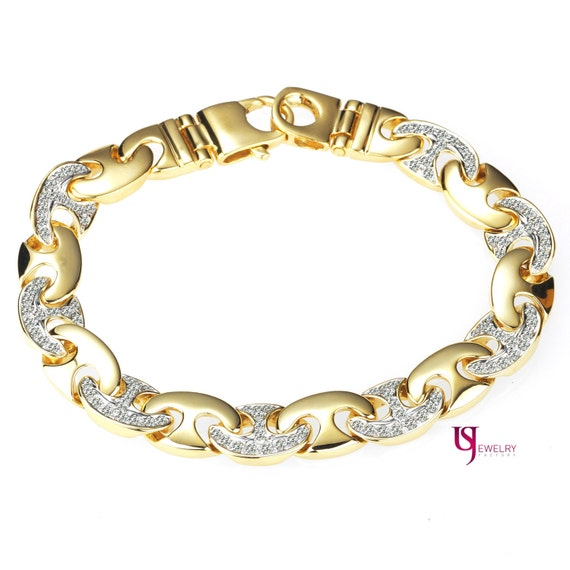 Men s Diamond Bracelet 2 20 TCW 14K Yellow Gold Natural