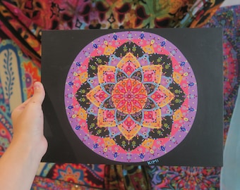Fire mandala Dot Painting 12 x 9
