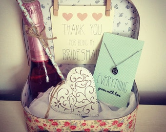 Thank You for being my Bridesmaid Vintage Style Suitcase Gift Set