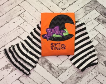 Witch ruffle shirt with sparkly bow/ girls halloween fuffle shirt/ Chevron witch hat ruffle tee