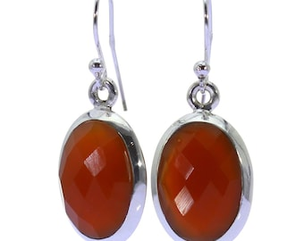 Carnelian Earrings, 925 Sterling Silver, Unique only 1 piece available! color orange, weight 4.8g, #38792
