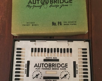 Auto Bridge Game, Play It Yourself Delux Pocket Model, No. PA, 1950's Bridge Game, Vintage Card Game, Stocking Stuffer