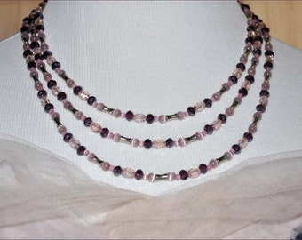 Pink Beaded Necklace, Amethyst Necklace, Silver Bead Necklace, Silver Metal Beads, Double Strand Beads, Extra Long Necklace