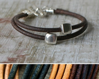 Chunky leather bracelet, brown, black or tan leather bracelet, wrap leather bracelet, teen gift, girlfriend gift, 3 year anniversary gift