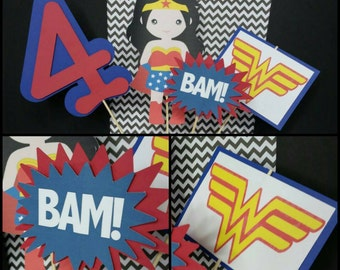 Wonder Woman Themed Centerpiece, Superhero Centerpiece, Superhero Cake Toppers