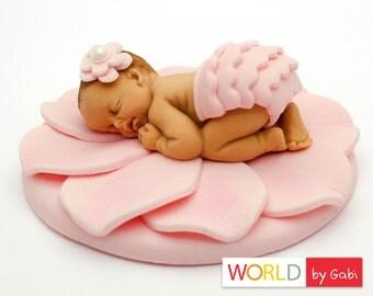 Flower Baby Cake Topper | Pink Fondant Baby | Christening Cake Toppers | Shower Cake Topper | Fondant Cake Topper | Baby Cake Topper