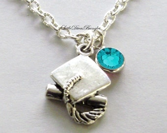 Graduation  Cap Charm Necklace W/ Swarovski Birthstone  -  Graduation / Birthday Gift  For Her / Under 20 / Usa   NK1
