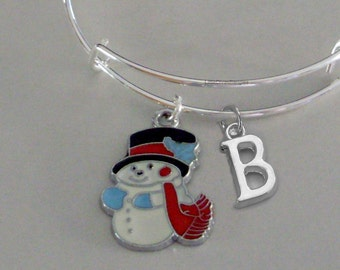 Snowman CHRISTMAS Bangle W Initial - Adjustable BANGLE -Personalize Your Expandable Bracelet - Gift For Her - Under 20 USA   W1