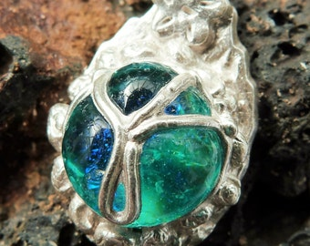 Hand crafted silver metalclay pendant with turquoise cabouchon