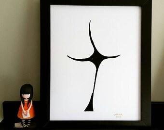 Bottom -  abstract - Framed Lino Print