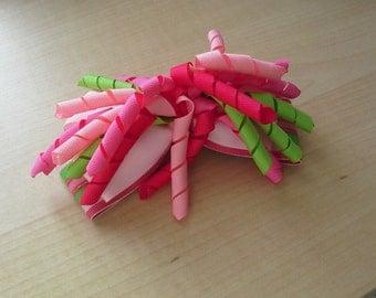 Girls Hair Bow - Pink & Green Hair Bow - Striped Hair Bow - Korker Hair Bow - Spring Hair Bow - Toddler Hair Bow - Summer Hair Bow