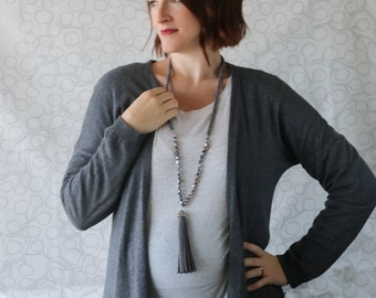 Long Gray Freshwater Pearl Beaded Necklace with Suede Tassel -  Long Pearl Tassel Necklace - Kay and Star
