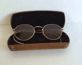 Vintage Aviator Style Glasses/Vintage Sunglasses/Vintage Wire Rim Sunglasses